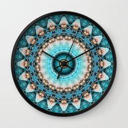 Mandala Precious stone turquoise Wall Clock