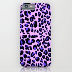 Blue and Black Leopard Print in Soft Pink iPhone 6s Slim Case