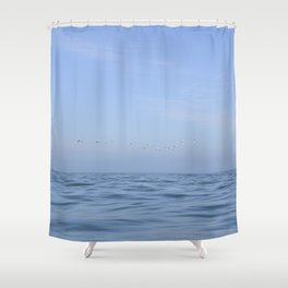 Minimalist seascape - soft waves and flying gannets off the coast of Wales, UK - travel photography Shower Curtain