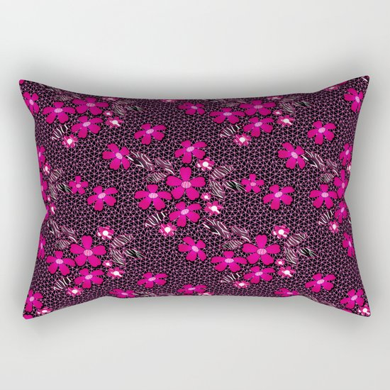 The floral pattern on the grid . Black and crimson pattern . Rectangular Pillow