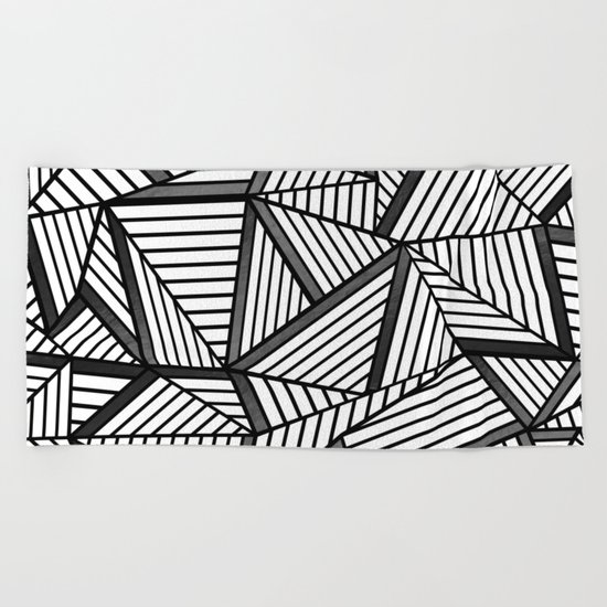 Ab Lines 2 Black and White Beach Towel