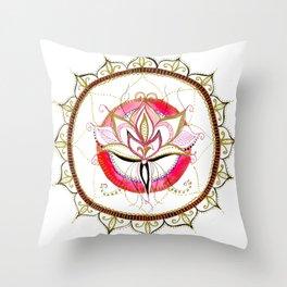 Lotus - Pink flourish Mandala Throw Pillow