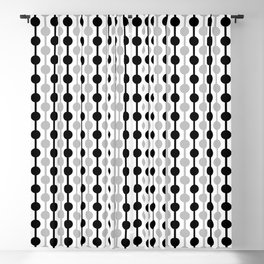 Geometric Multi Droplets Pattern - Black White Grey Blackout Curtain