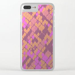 Gold and Pink Snake Skin Clear iPhone Case