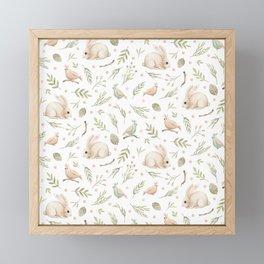 Cute Bunny patterns Framed Mini Art Print