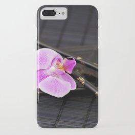 Zen pink Orchid flower on black iPhone Case