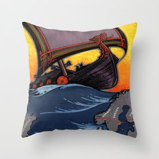 Scandinavia Land of the Vikings - Vintage Travel Throw Pillow
