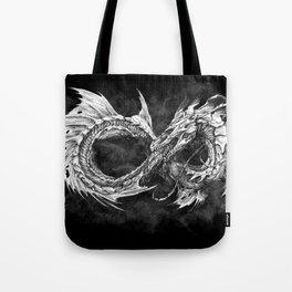 Ouroboros mythical snake on black cloudy background   Pencil Art, Black and White Tote Bag