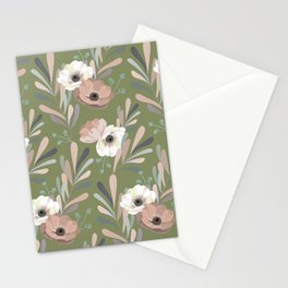 Anemones & Olives - Green Stationery Cards