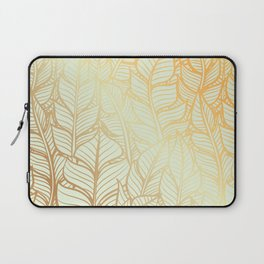 Bohemian Gold Feathers Illustration With White Shimmer Laptop Sleeve