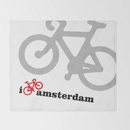 I Love Amsterdam - Red Bike Throw Blanket