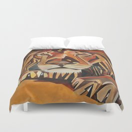 Lion Vector In Cubist Style Duvet Cover