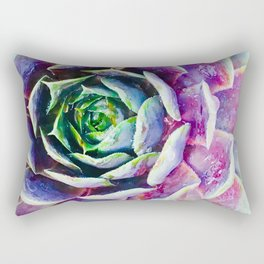 Rainbow Succulent Rectangular Pillow