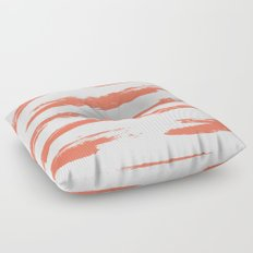 Brushed Stripe Deep Coral on White Floor Pillow