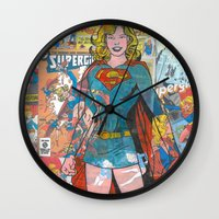 supergirl Wall Clocks featuring Vintage Comic Supergirl by Dave Seedhouse.com