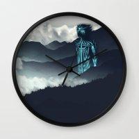 attack on titan Wall Clocks featuring Titan by ketizoloto