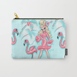 Pinup Doll Walking a Flamingo Carry-All Pouch