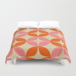 Mid Century Modern Pattern in Pink and Orange Duvet Cover
