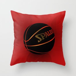 Black basketbal Throw Pillow