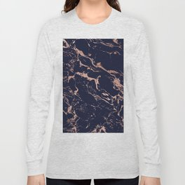 Modern chic navy blue rose gold marble pattern Long Sleeve T-shirt