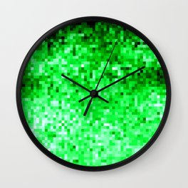 Grass Green Pixels Wall Clock