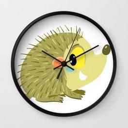 cute little prickly golden hedgehog Wall Clock