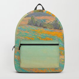 Granville Redmond Oil Painting Vintage American Art Poppies and Lupine Backpack
