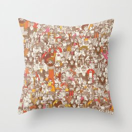Victorian Crowd Throw Pillow