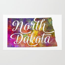 North Dakota US State in watercolor text cut out Rug