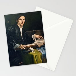 Lorenzo Lotto - Portrait of a gentleman in his studio Stationery Cards