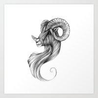 ram Art Prints featuring Ram by Judy Csotsits