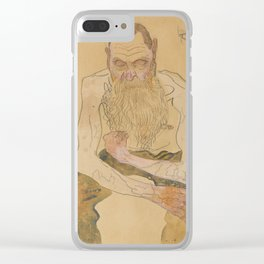 Oskar Kokoschka (1886-1990) - Sitting Bearded Man - Sitzender bärtiger Mann - Egon Schiele style Clear iPhone Case