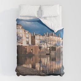 Nantes Riverside Scenery - Winter Blue Fantasy Duvet Cover