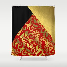 Gold Red Swirls with Triangle Flap Accents Shower Curtain