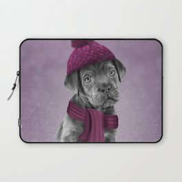 Drawing Puppy Cane Corso in hat and scarf Laptop Sleeve