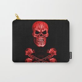 Skull And Crossbones Red Carry-All Pouch