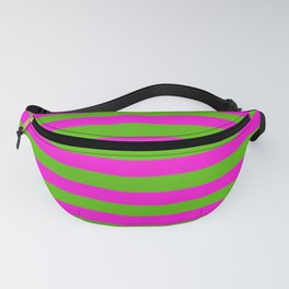 Hot Pink And Kelly Green Stripes Fanny Pack