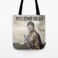 walking dead Tote Bags featuring The Walking Dead by ketizoloto