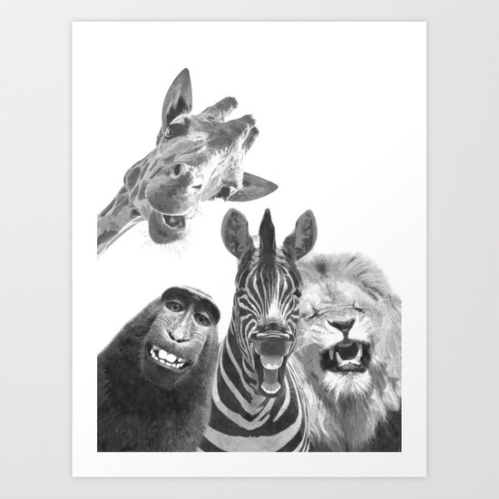 Black and White Jungle Animal Friends by alemi