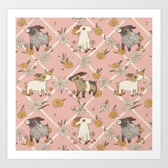 goat pattern 2 Art Print