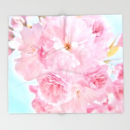 Soft Blue Sky with Pink Peonies Throw Blanket