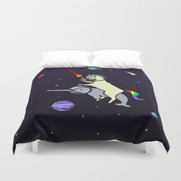 Llamacorn Riding Narwhal In Space Duvet Cover