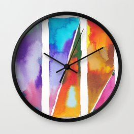 180811 Watercolor Block Swatches 3 | Colorful Abstract |Geometrical Art Wall Clock