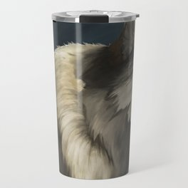 Grey Wolf in the Morning Travel Mug