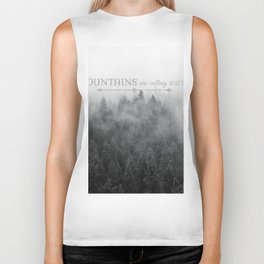 The Mountains are Calling Black and White Quote Photograph Biker Tank