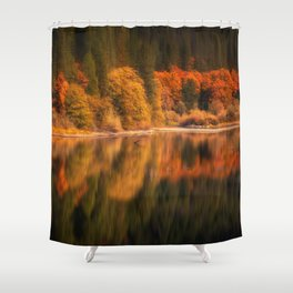 Natures Mirror reflecting Fall colors Shower Curtain