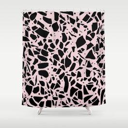 Terrazzo Spot Black on Blush Shower Curtain