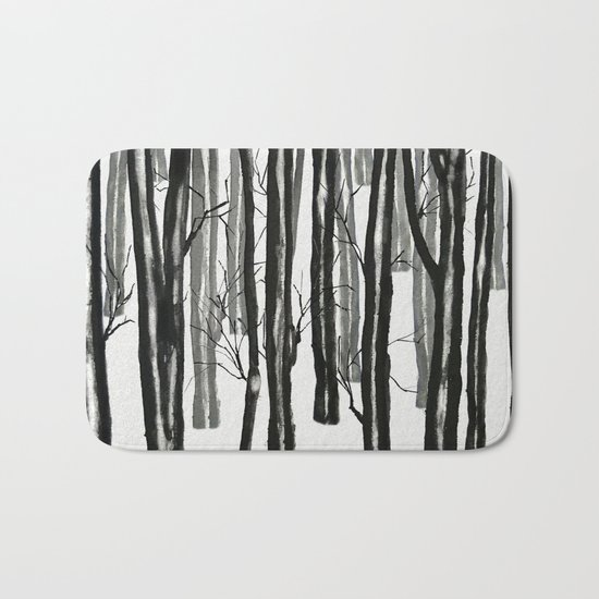 wood and snow Bath Mat