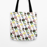 spice girls Tote Bags featuring SPICE UP YOUR LIFE! by Bryan Hollingsworth