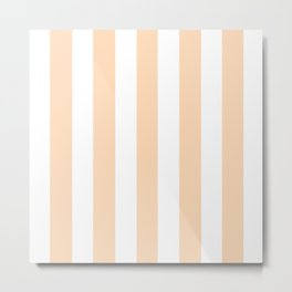 Peach puff pink - solid color - white vertical lines pattern Metal Print